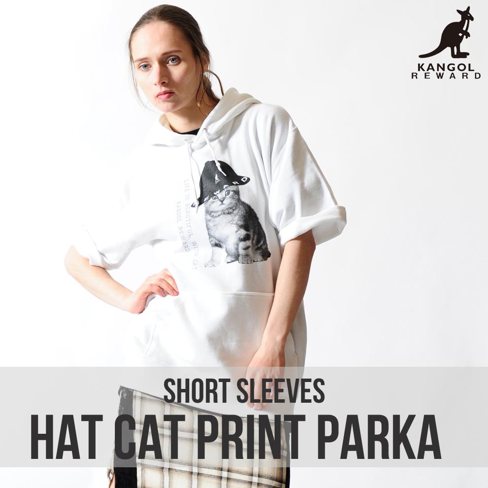 KANGOL REWARD HAT CATプリント半袖パーカー
