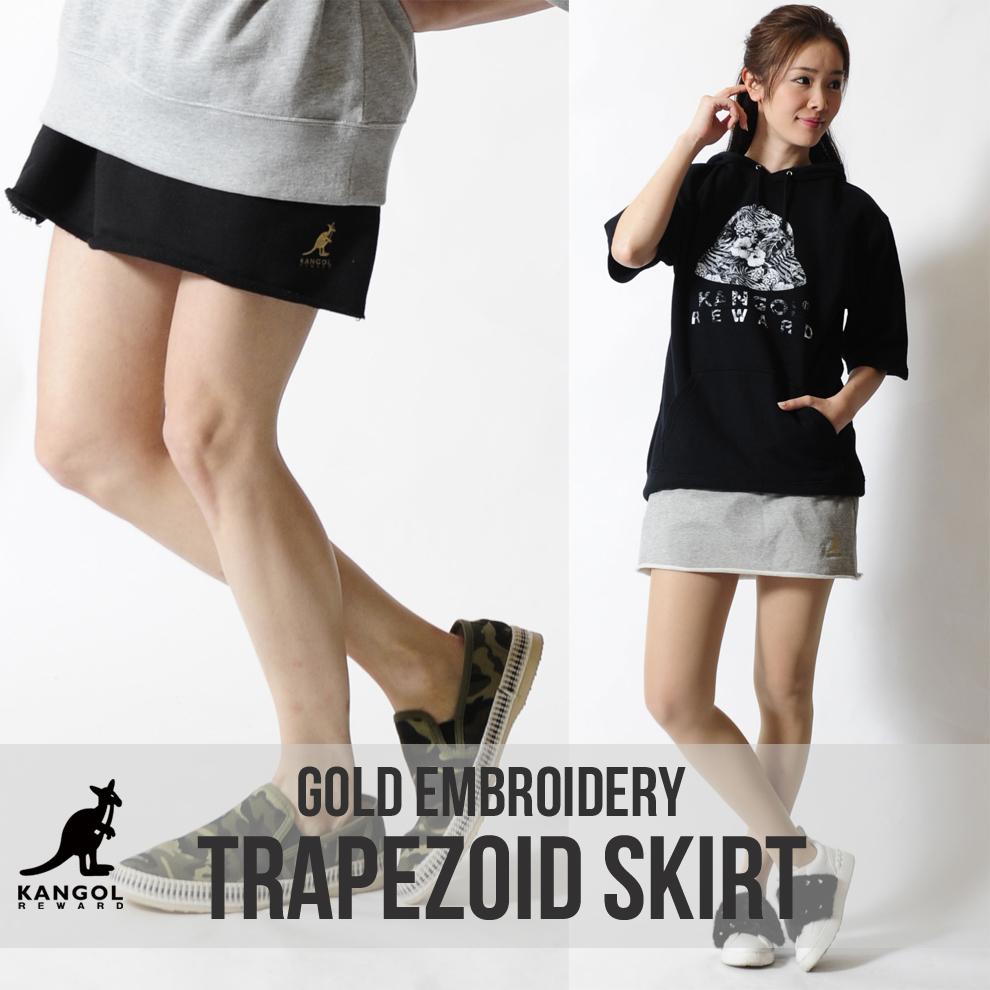 KANGOL REWARD 金糸ワンポイント刺繍台形スウェットスカート