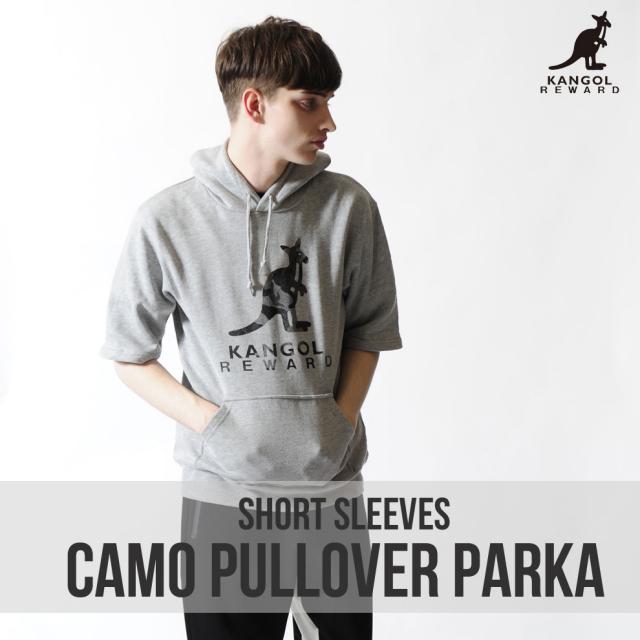 KANGOL REWARD カモフラロゴ半袖プルオーバーパーカー