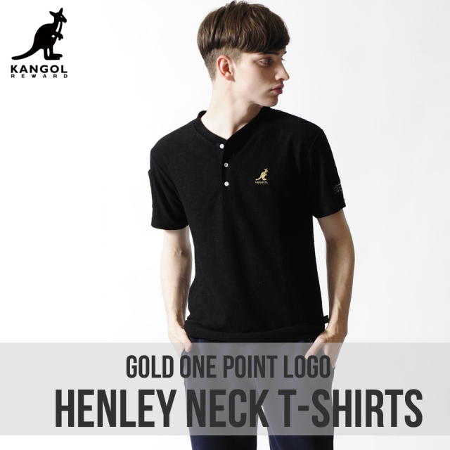 KANGOL REWARD 金糸ワンポイント刺繍パイルヘンリーネックTシャツ