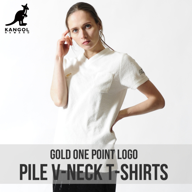 KANGOL REWARD 金糸刺繍ワンポイントレディースVネックTシャツ