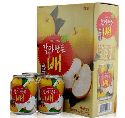 「ヘテ」すりおろし梨ジュース「缶」238ml×12個【1BOX】■韓国食品■ 2306-1