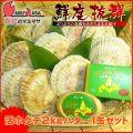 [かにのマルマサ]活ほたて貝2kg[8-12枚]北海道よつ葉バター1缶セット[活帆立貝] 2019年贈り物 ギフト