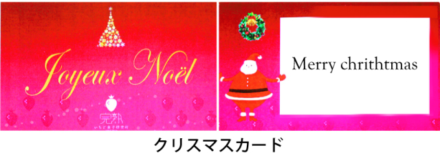 完熟いちご、クリスマスケーキ、苺ケーキ、シャンパンケーキ、ギフト、贈り物、プレゼント、メッセージカード