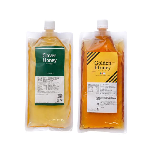 【エコパック】クローバー蜂蜜・ゴールデン純粋蜂蜜セット(450g×2パック)