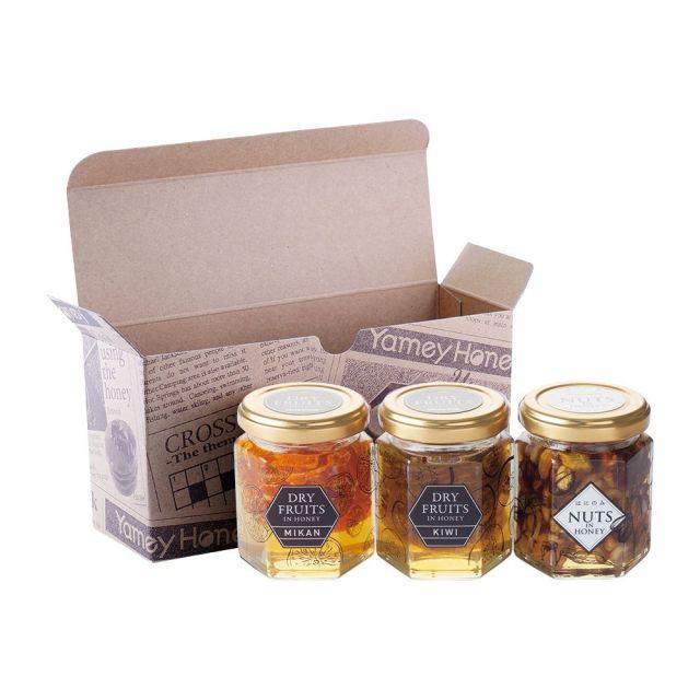ドライフルーツインハニーとナッツの蜂蜜漬け3本セット(専用箱入り)