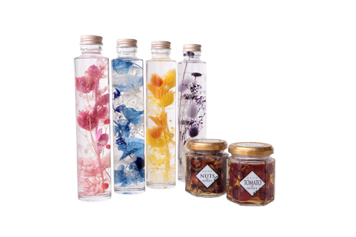 【敬老の日ギフト】はにのみ&はにベジ 蜂蜜漬け2種(ナッツの蜂蜜漬け1個、ドライトマトの蜂蜜漬け1個)と4色から選べるハーバリウムボトルセット
