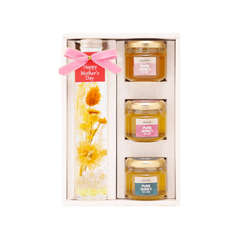 【母の日ギフト】ハーバリウムと完熟蜂蜜3種セット