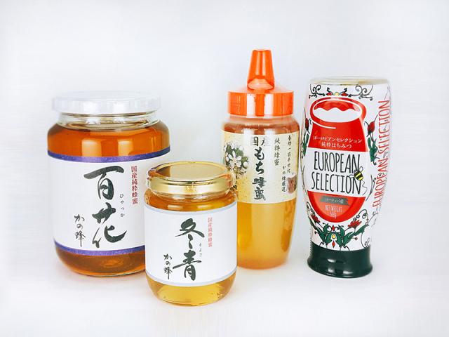 【解体セール】国産もち蜂蜜500g・国産百花蜂蜜1000g・ヨーロピアン純粋蜂蜜500g・国産そよご蜂蜜300gセット