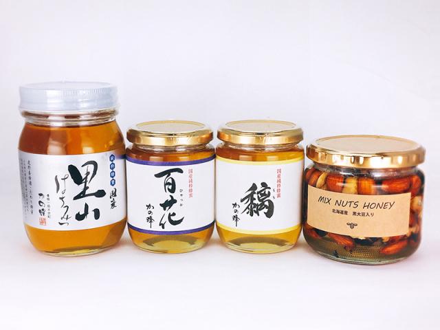 【解体セール】国産里山蜂蜜500g・国産百花蜂蜜300g・国産もち蜂蜜300g・ミックスナッツハニー360gセット
