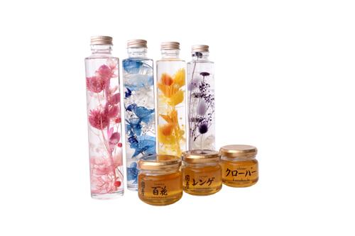 【敬老の日ギフト】蜂蜜90g3種(国産れんげ・国産百花・カナダ産クローバー)と癒しのお花ハーバリウムボトル1本セット