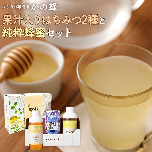 【蜂蜜ギフト】果汁入りはちみつ2種と純粋蜂蜜セット 500g×各1本