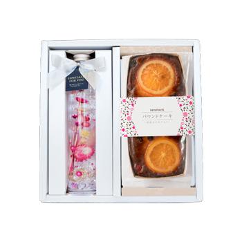 【母の日ギフト】はちみつパウンドケーキ(オレンジ&レーズン)とハーバリウムセット