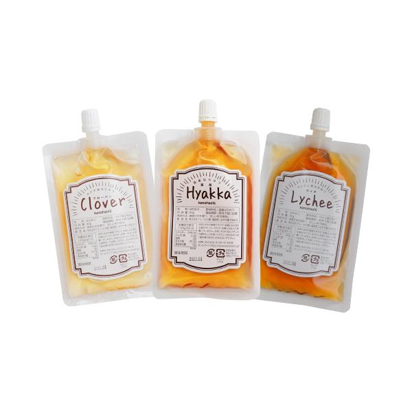 【メール便 蜂蜜ギフト】お便りギフト 蜂蜜3種 エコパック(百花蜂蜜・クローバー蜂蜜・ライチ蜂蜜)