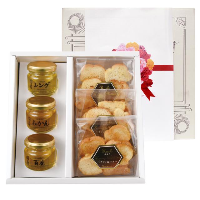 【母の日ギフト】蜂蜜ラスク&国産蜂蜜3種セット