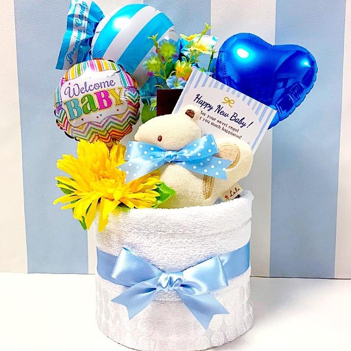 贈り物に大人気!今治タオルのバルーンおむつケーキ│今話題の男の子の出産祝いプレゼント mimb1501