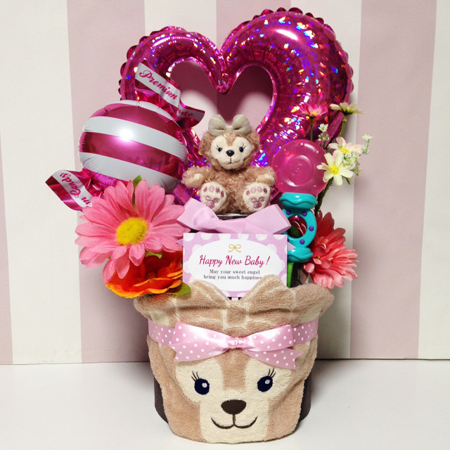 出産祝いに人気シェリーメイのおむつケーキ2段│ストラップ・スタイ・ラトル 女の子プレゼント duf8101