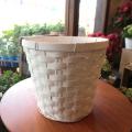 お花やグリーンがもっと素敵になりますよ♪バスケット鉢カバー(ホワイト)5号鉢サイズ 【観葉植物 ミニ インテリアグリーン 鉢花 鉢カゴ 鉢かご バスケット】