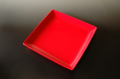 赤い角皿22cm