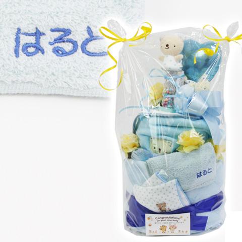 アナノ カフェ おむつケーキ2段 名入れ刺繍ポケットタオル付 ブルー