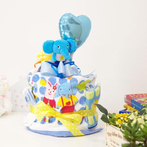 ラブ ア ダブダブ おむつケーキ1段 S型 名入れ刺繍ポケットタオル付 ブルー