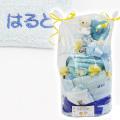 アナノ カフェ おむつケーキ2段 名入れ刺繍ポケットタオル付 ブルー・出産祝い