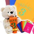 名入れ刺繍カラーマフラータオル & くまのマックスを誕生日や出産祝いギフトに