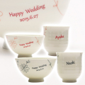 祖父母への古稀祝いや喜寿祝いに名入れ茶碗・湯呑み夫婦フラワーライン睦揃