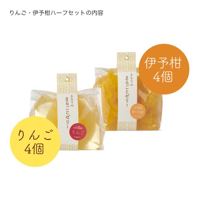 はこきなりゼリー/りんご伊予柑ハーフ説明