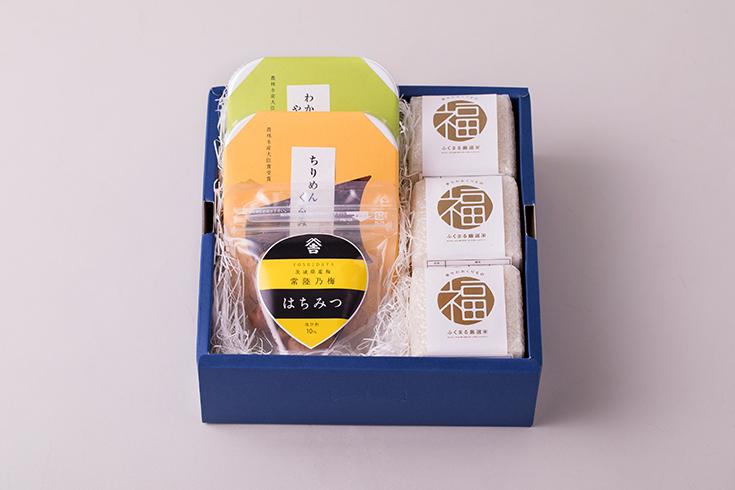 ふくまる厳選米と佃煮・梅干(茨城県産梅 常陸乃梅)セット