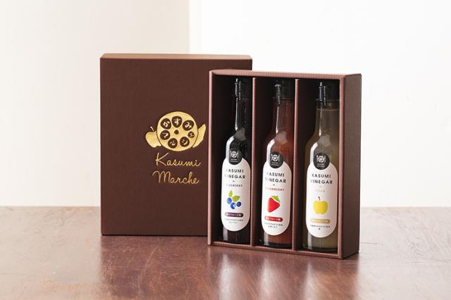 KASUMI VINEGAR (飲むフルーツ酢)完熟いちご、ブルーベリー、梨の3種セット ギフトボックス