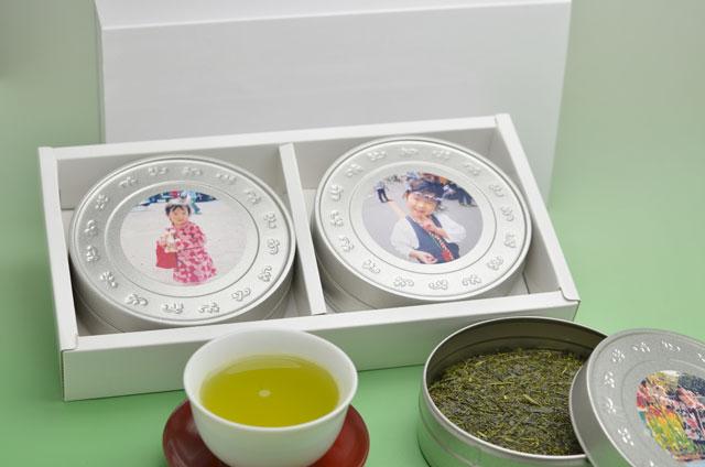 【送料無料】写真プリントCAN(2缶)お茶ギフトセット