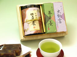 【NHKのためしてガッテンで紹介された静岡県掛川産の深蒸し茶】【ギフトセット】お茶・ようかん詰合せ(中)※