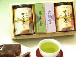 【NHKのためしてガッテンで紹介された静岡県掛川産の深蒸し茶】お茶・ようかん詰合せ(大)ギフトセット※