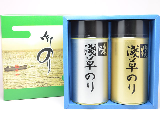 【送料無料(沖縄別)】浅草名物 おつまみ海苔 2缶 詰合わせ 海苔 味付け ギフトセット(中)※