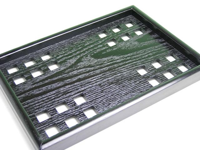 <お盆>黒穴明木製長角盆(サイズ:25cmx18cm)