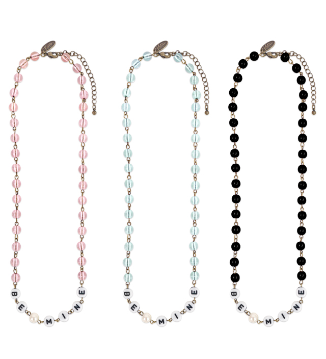 "ALPHABET BEADS ""BE MINE"" necklace"