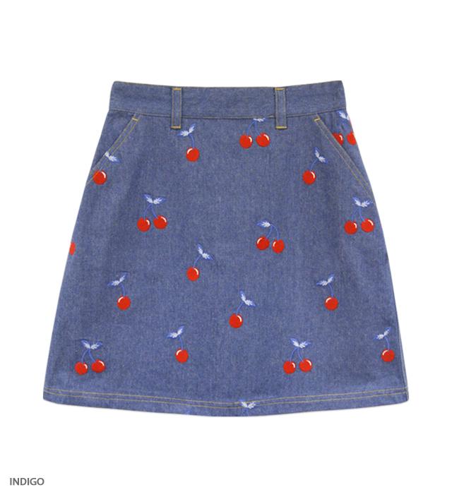 CHERRY DENIM flat skirt