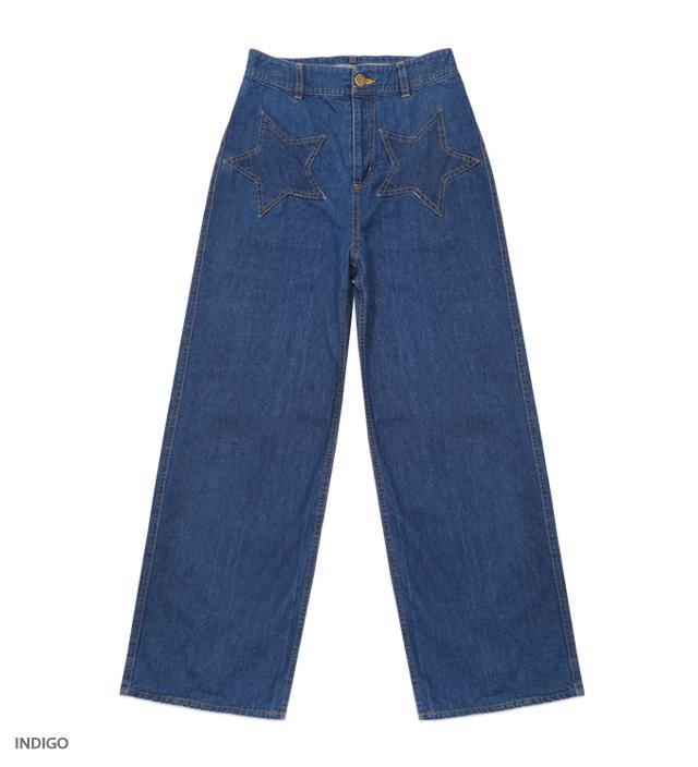KATIE JEANS star patch pants