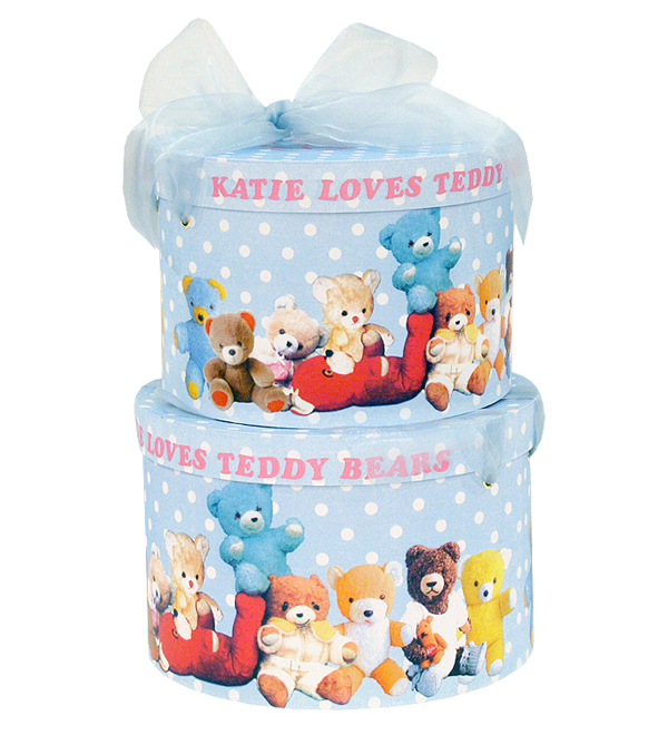 HAT BOX round TEDDY BEARS