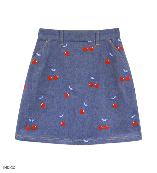 CHERRY DENIM flat skirt