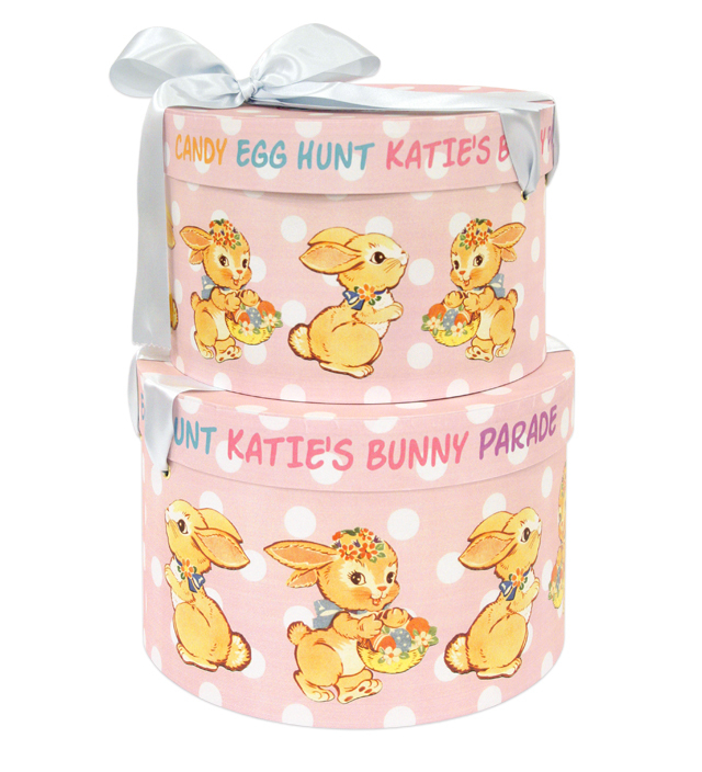 HAT BOX round BUNNY DOT