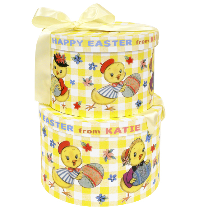 HAT BOX round EASTER CHICK