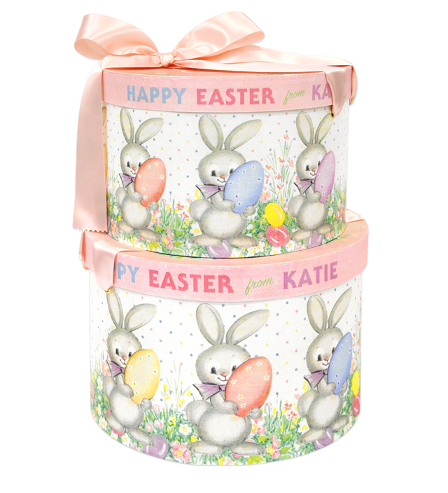 HAT BOX round EASTER BUNNY