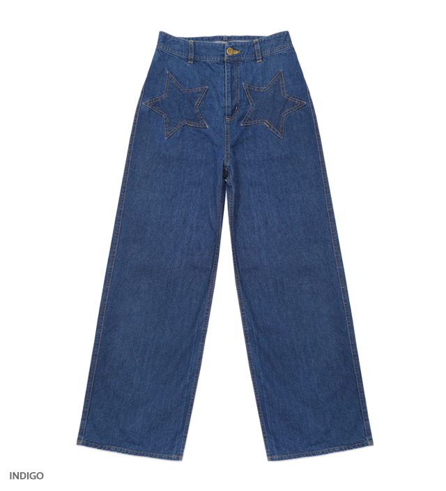 KATIE JEANS star patch pants