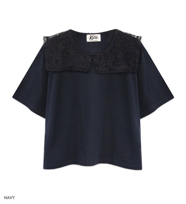 MARINE GIRL lace collar tee