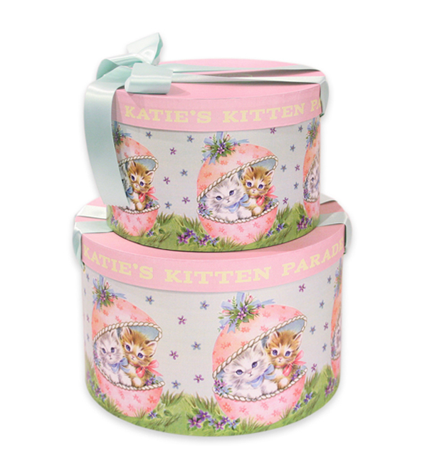 HAT BOX round KITTEN PARADE