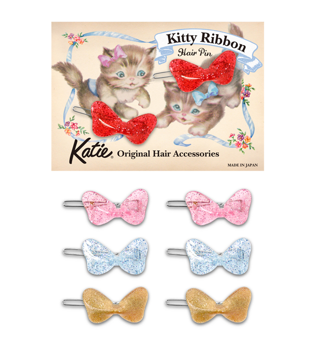 KITTY RIBBON hair pin set