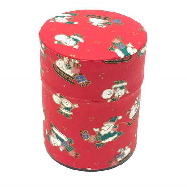 【和紙茶缶50g】クリスマス赤