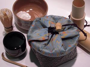 携帯抹茶セット野点籠龍村美術織物獅噛太子